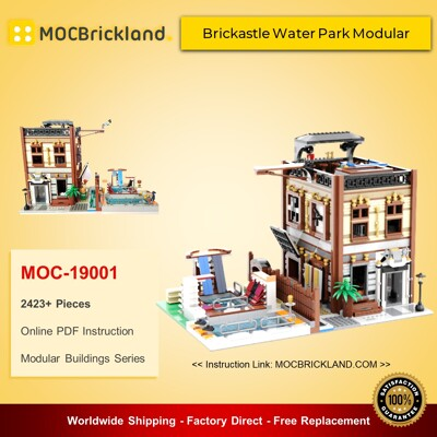 Modular Buildings MOC-19001 Brickastle Water Park Modular (70657 Ninjago City Docks Alternate Model) By Huaojozu MOCBRICKLAND