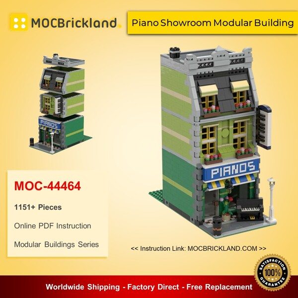 Modular Buildings MOC-44464 Piano Showroom Modular Building By Magdatoys MOCBRICKLAND