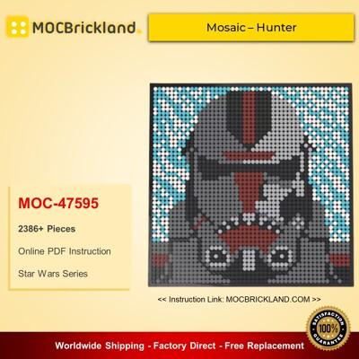Star Wars MOC-47595 Bad Batch LEGO Art Mosaic – Hunter By lego_marvel_skylines MOCBRICKLAND
