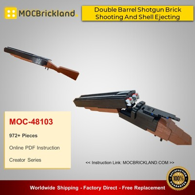 Creator MOC-48103 Double Barrel Shotgun Brick Shooting And Shell Ejecting By modu_lego MOCBRICKLAND