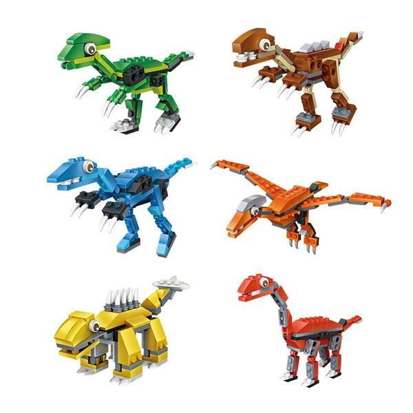 LOZ Cube Dudes Dinosaurs x6