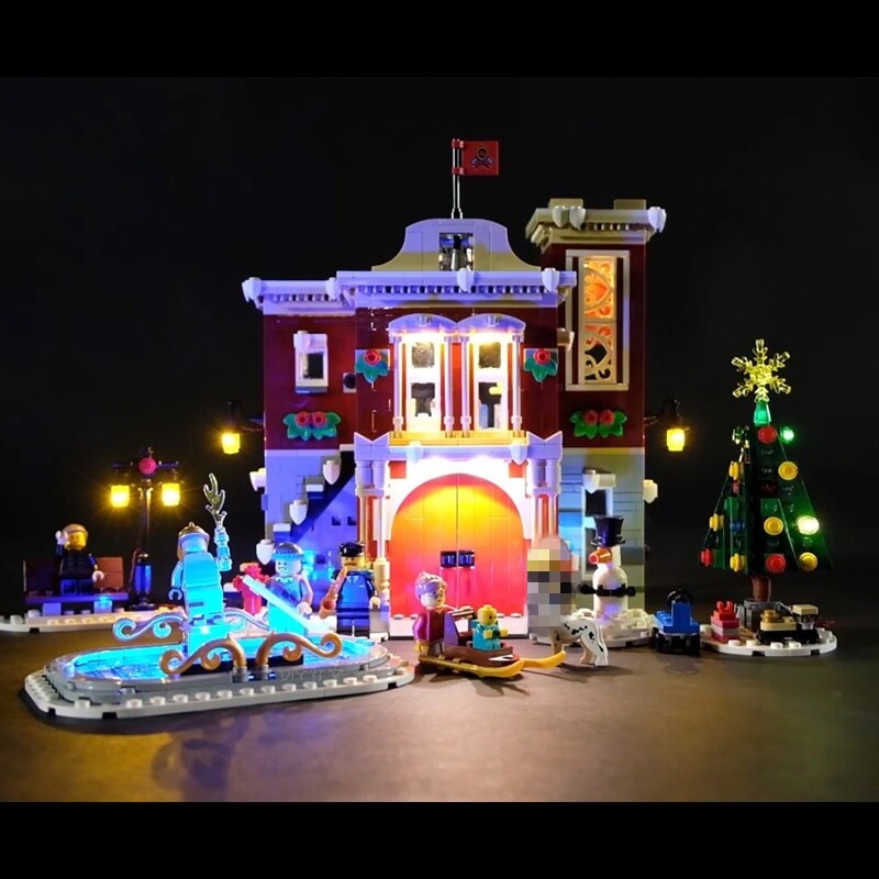 Luxury VersionLED Light Set For LEGO 10263 Winter Village Fire Station Compatible LEPIN 36014 (LED Light+Battery box)Kits