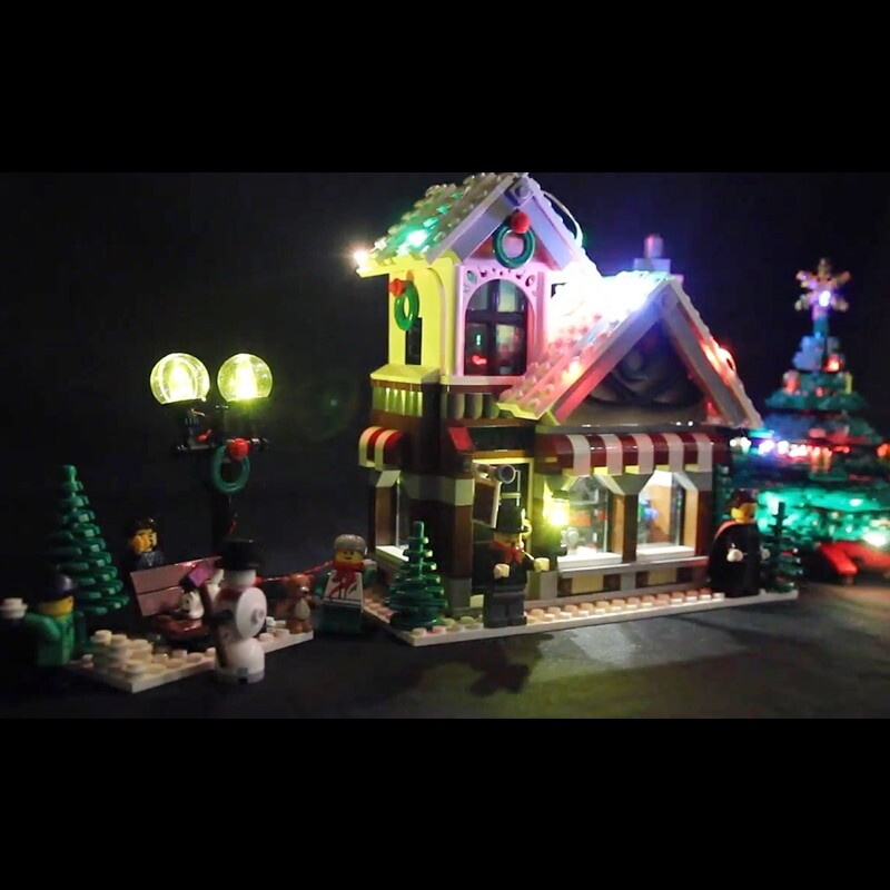 Luxury VersionLED Light Set For LEGO 10249 Winter Toy Shop Compatible LEPIN 35019 (LED Light+Battery box)Kits