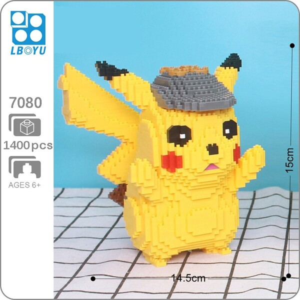 Balody 7079 Large Pikachu With Detective Hat