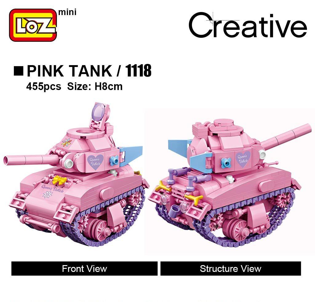 LOZ 1118 Pink Tank Turn Mini Bricks
