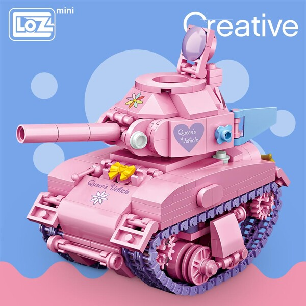 LOZ 1118 Pink Tank Turn Mini Bricks