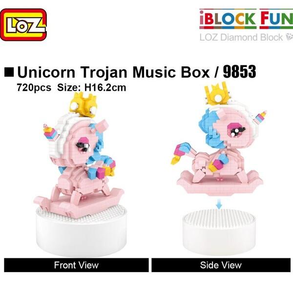 LOZ 9853 Unicorn Trojan Music Box Mini Bricks