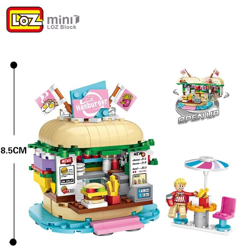 LOZ 1729 1730 Beverage Shop And Burger Shop Building Blocks Bundle
