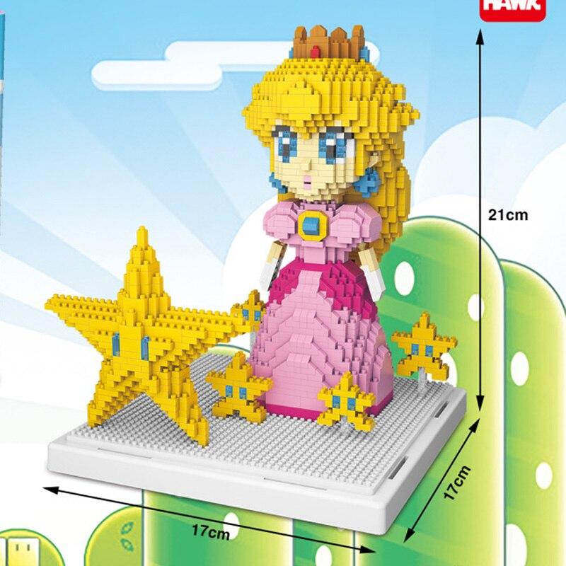 WISEHAWK 2508 Super Mario Princess Peach And Star Brickheadz