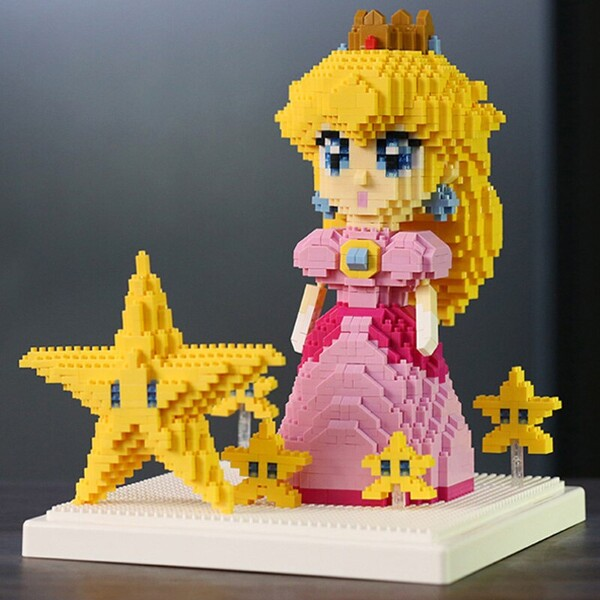WISEHAWK 2508 Super Mario Princess Peach And Star Brickheadz