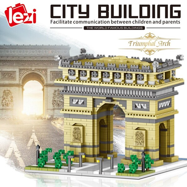 LEZI 8004 The Arc Of Triomphe Gate Brickheadz