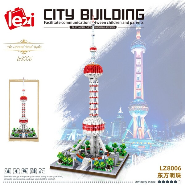 LEZI 8006 The Oriental Pearl Tower Brickheadz