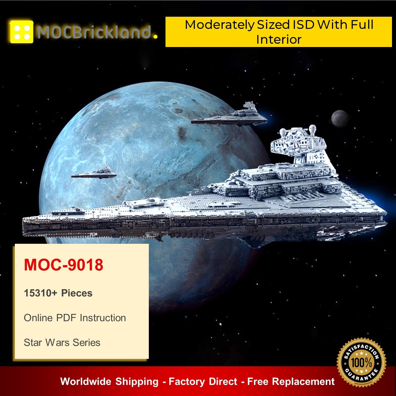 Star wars moc-9018 moderately sized isd with full interior by raskolnikov mocbrickland