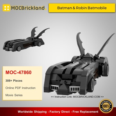 Movie MOC-47860 Batman & Robin Batmobile By Bens_Bricks MOCBRICKLAND