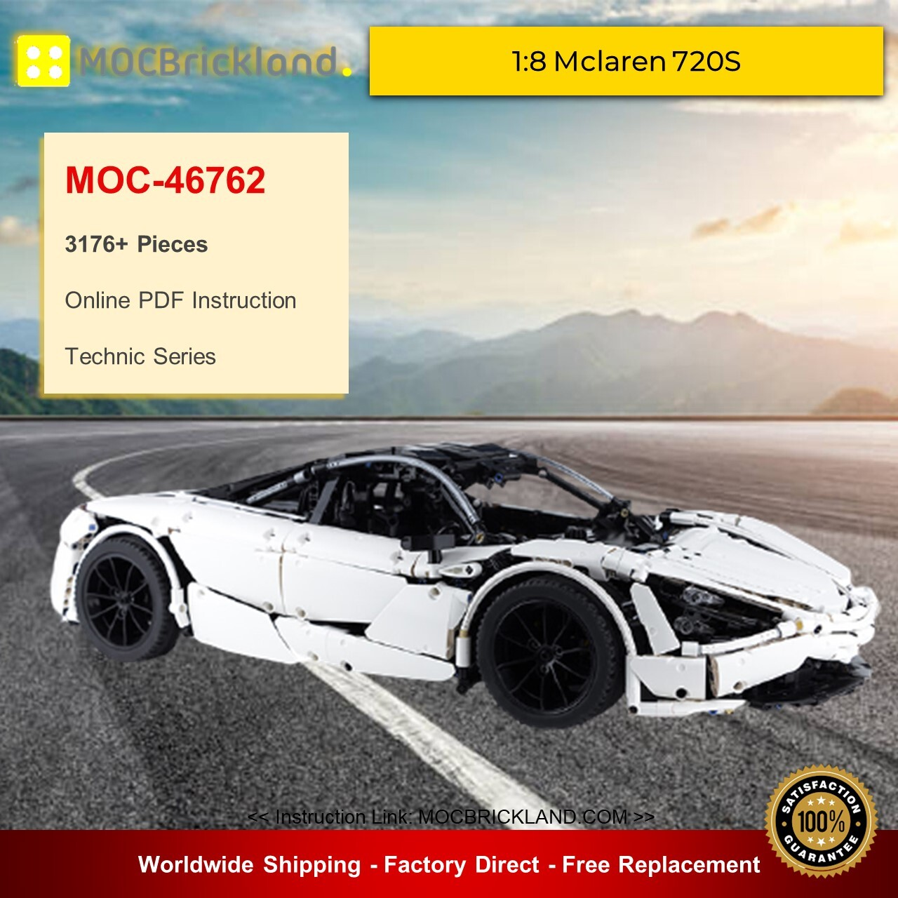 Technic moc-46762 1:8 mclaren 720s by charbel mocbrickland