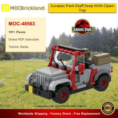 Technic MOC-48563 Jurassic Park Staff Jeep With Open Top By Miro MOCBRICKLAND