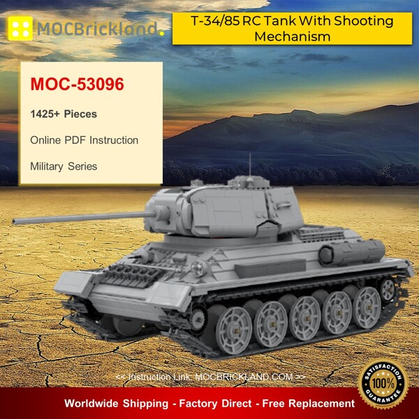 Military moc-53096 t-34/85 rc tank with shooting mechanism by zackhariahm mocbrickland