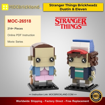 Movie MOC-26518 Stranger Things Brickheadz Collection - Dustin & Eleven By mkibs MOCBRICKLAND