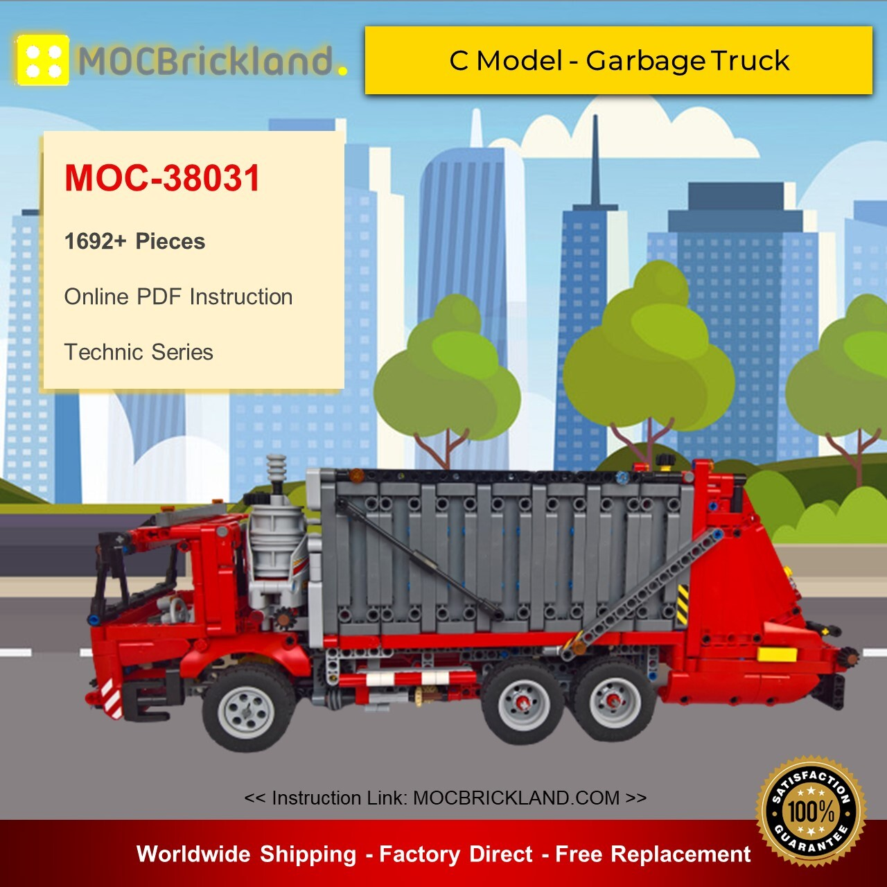Technic Moc 38031 42098 C Model Garbage Truck By Dyens Creations Mocbrickland Lepin Land Shop