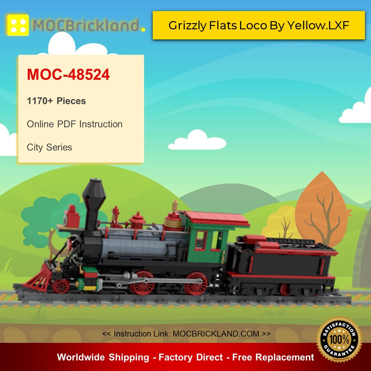 City moc-48524 grizzly flats loco by yellow. Lxf mocbrickland