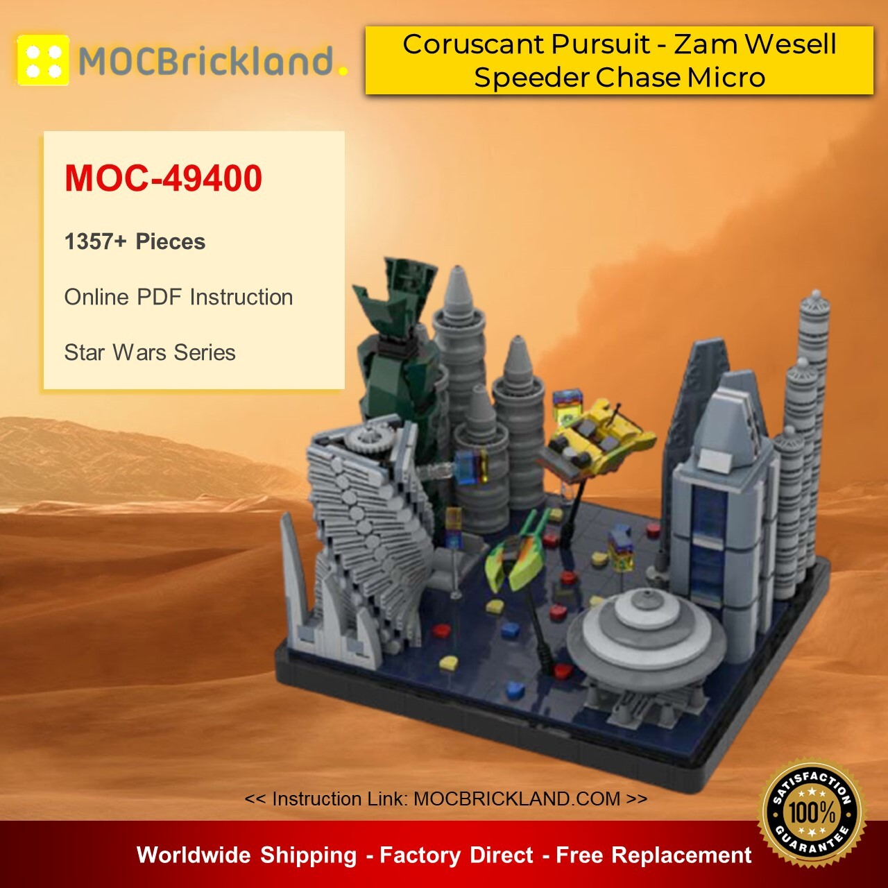Star wars moc-49400 coruscant pursuit - zam wesell speeder chase micro - episode ii star wars by 6211 mocbrickland