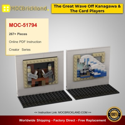 Creator MOC-51794 3D Mini Masterpiece - The Great Wave Off Kanagawa & The Card Players By beewiks MOCBRICKLAND