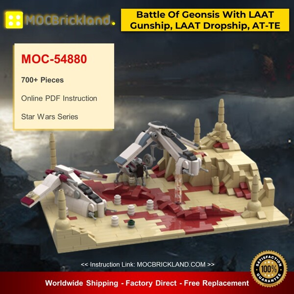 Star wars moc-54880 battle of geonsis with laat gunship, laat dropship and at-te by red5-leader mocbrickland