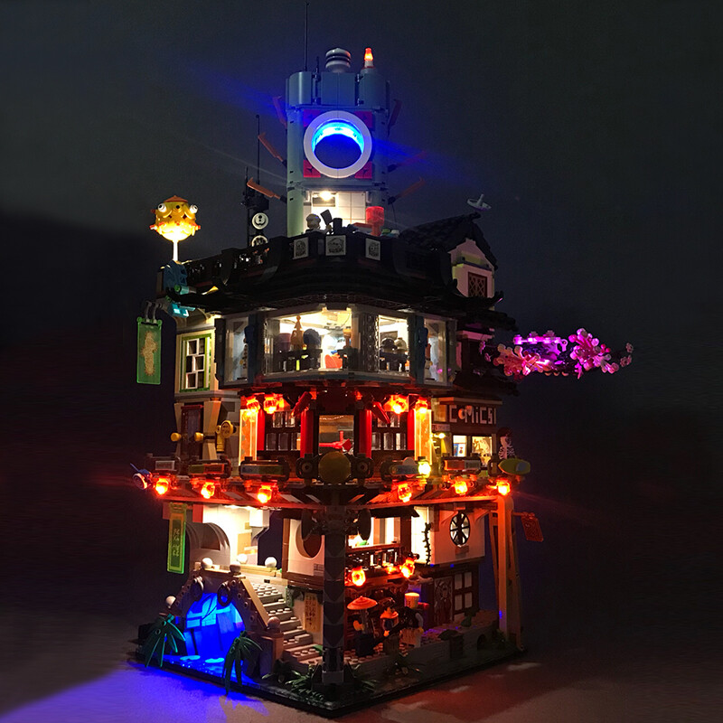 Luxury VersionLED Light Set For LEGO 70620 NINJAGO City Compatible LEPIN 06066(LED Light+Battery box)Kits