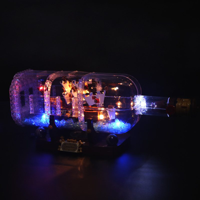 Luxury VersionLED Light Set For LEGO 21313 Ship in a Bottle Compatible LEPIN 16051 (LED Light+Battery box)Kits