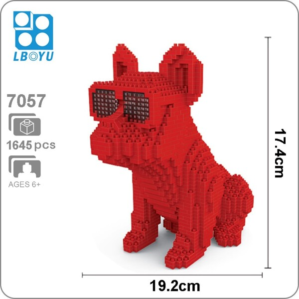 Balody 7057 Large Red Bulldog With Eyeglasses