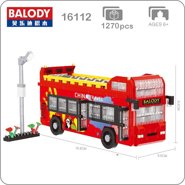 Balody 16112 Medium Red Travel Double-decker Bus