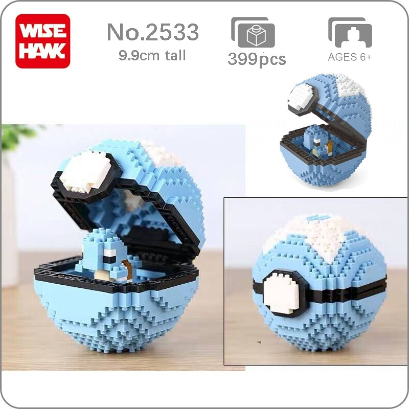 Balody 2533 Medium Pocket Squirtle Monster Blue Dive Ball