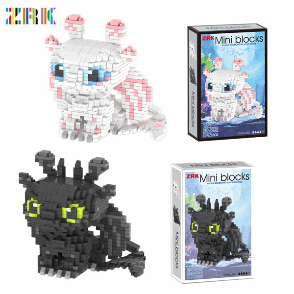 ZRK 7819 7820 Toothless And Light Fury Character Cartoon Mini Bricks