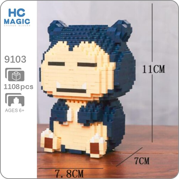 HC 9103 Snorlax Pocket Monster Sit Mini Bricks