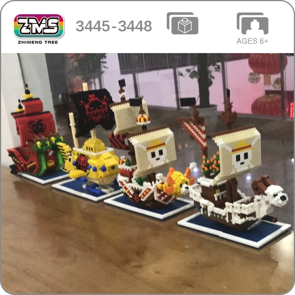 ZMS 3445 3446 3447 3448 One Piece Pirate Ship Series Bundle Brickheadz