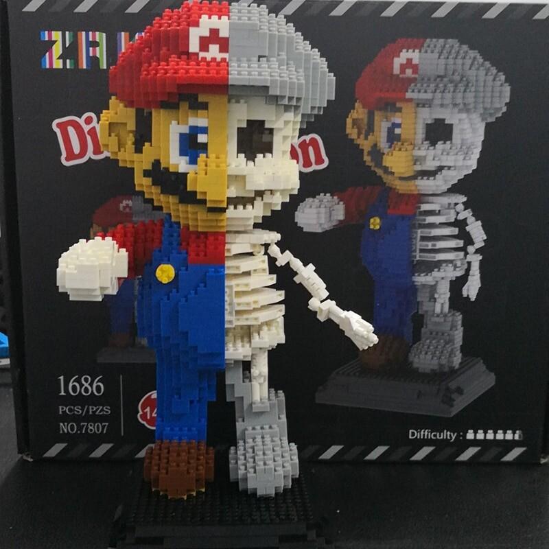 ZRK 7807 Super Mario Red Mario Dissection Skeleton Brickheadz