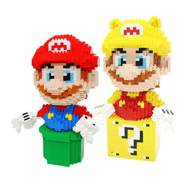 CHARKA 7005 7006 Super Mario Greenpipe And Golden Question Block Mario Bundle Brickheadz