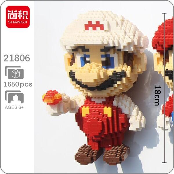 SHANGJI 21806 Super Mario White Fire Mario Brickheadz