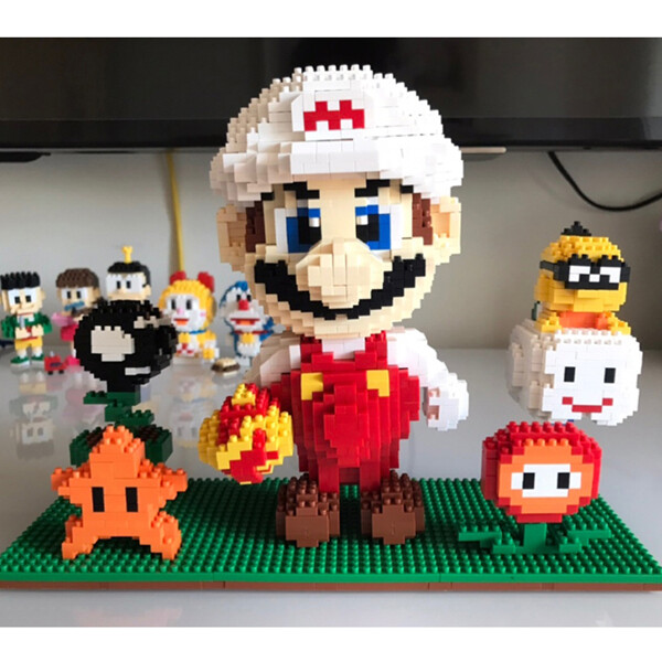 ZMS 3491 Super Mario White Fire Mario And Flower Star Brickheadz