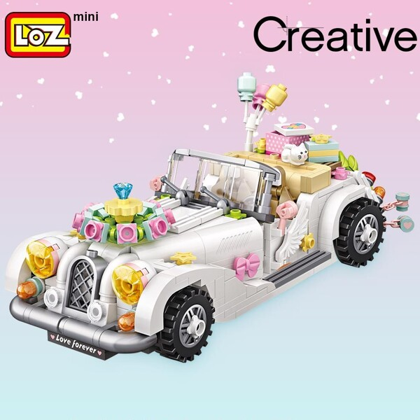 LOZ 1119 White Wedding Car Brickheadz