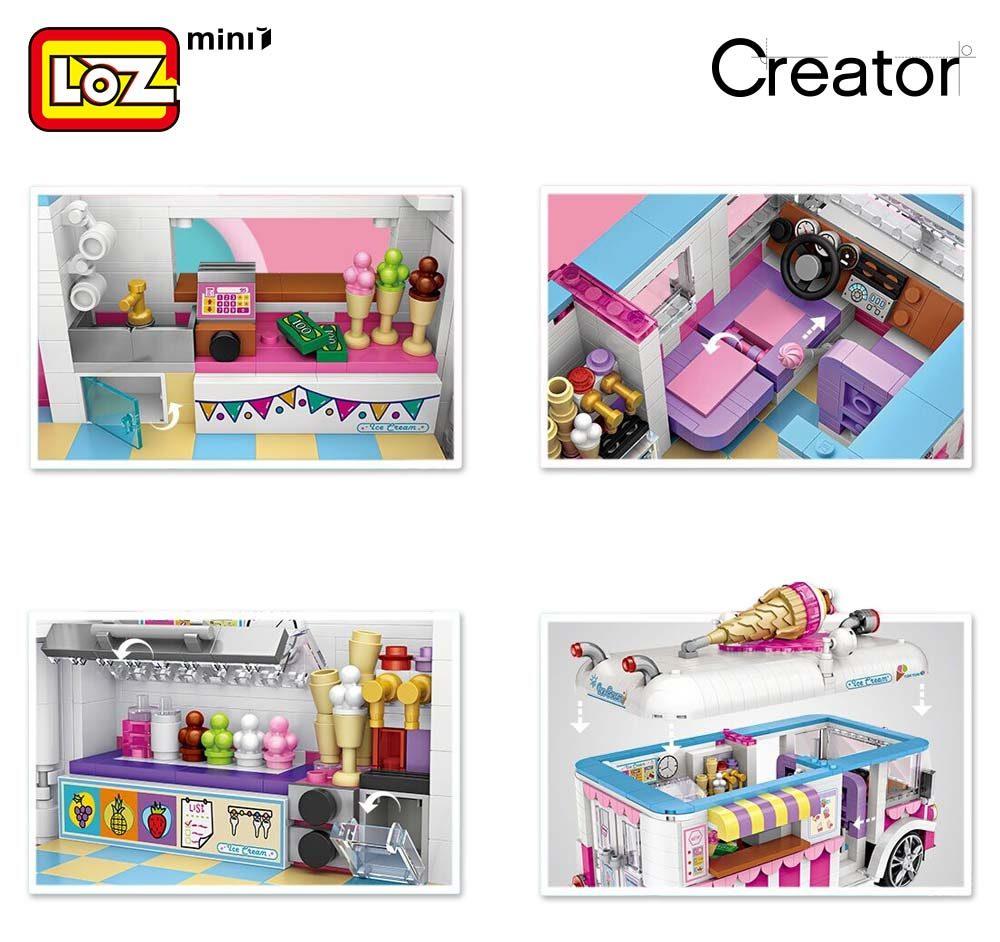 LOZ 1112 Ice Cream Van Car Brickheadz