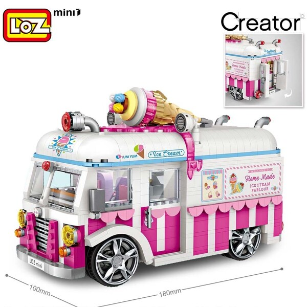 LOZ 1112 Ice Cream Van Car Brickheadz