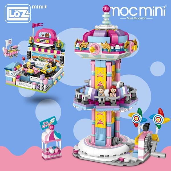 LOZ 1727 1728 Amusement Park Set Bundle Brickheadz