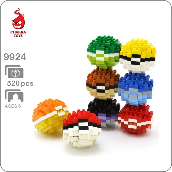 CHAKRA 9924 Pokemon Ball Set Brickheadz