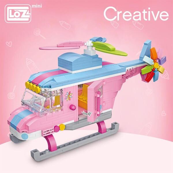 LOZ 1121 Pink Helicopter Brickheadz