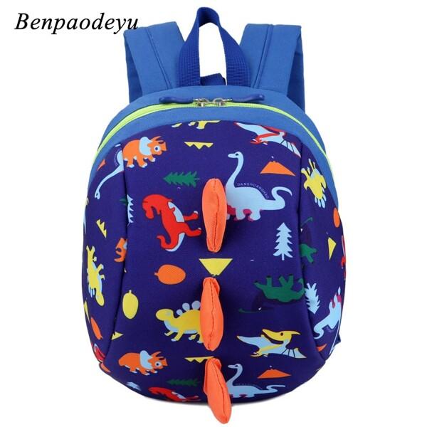 2019 New children's backpack cute cartoon little dinosaur anti-lost children school bags for boys girls toddler kids backpack
