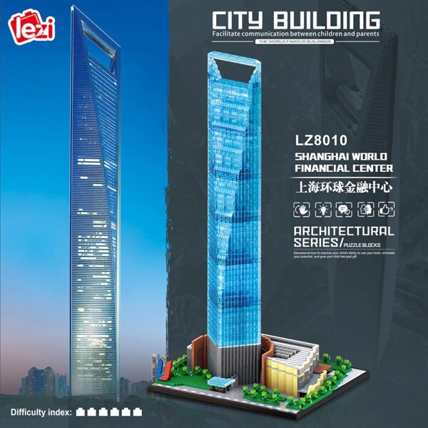 LEZI 8010 Shanghai World Financial Center Brickheadz