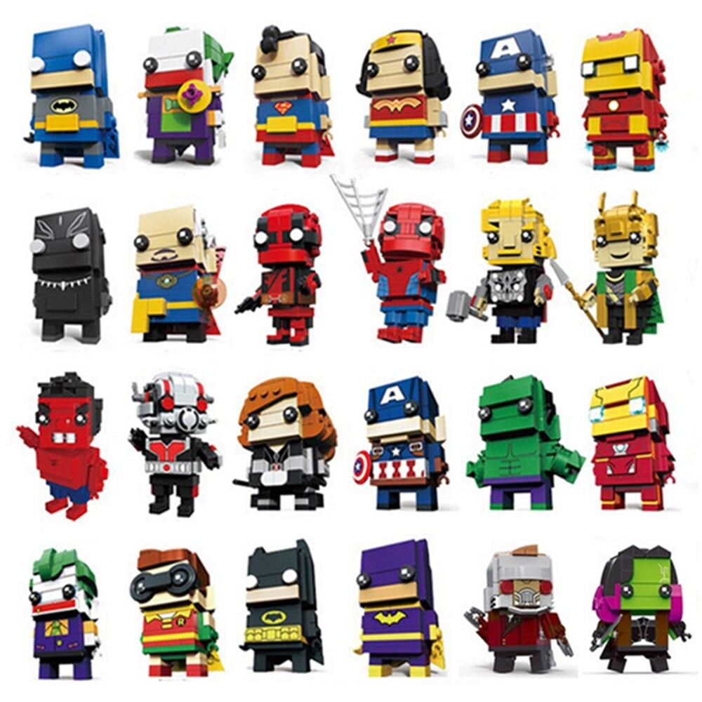 LOZ 6801-6818 Rocky Wonder Woman Iron Man Robin Spiderman Thor Superhero Brickheadz