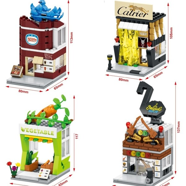 SEMBO SD6034-SD6037 & SD6050-6053 Mini Shop Building Bricks