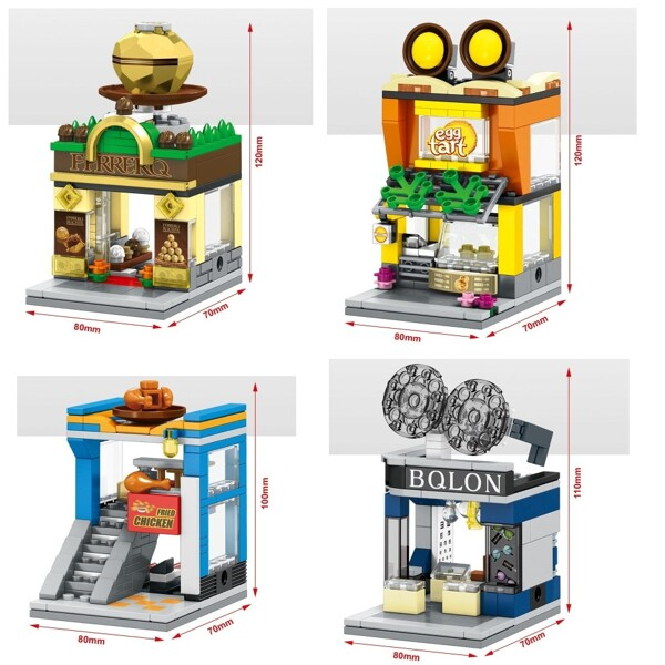 SEMBO SD6088-SD6091 & SD6042-SD6045 & SD6062-6069 Mini Street Cute Small Shop